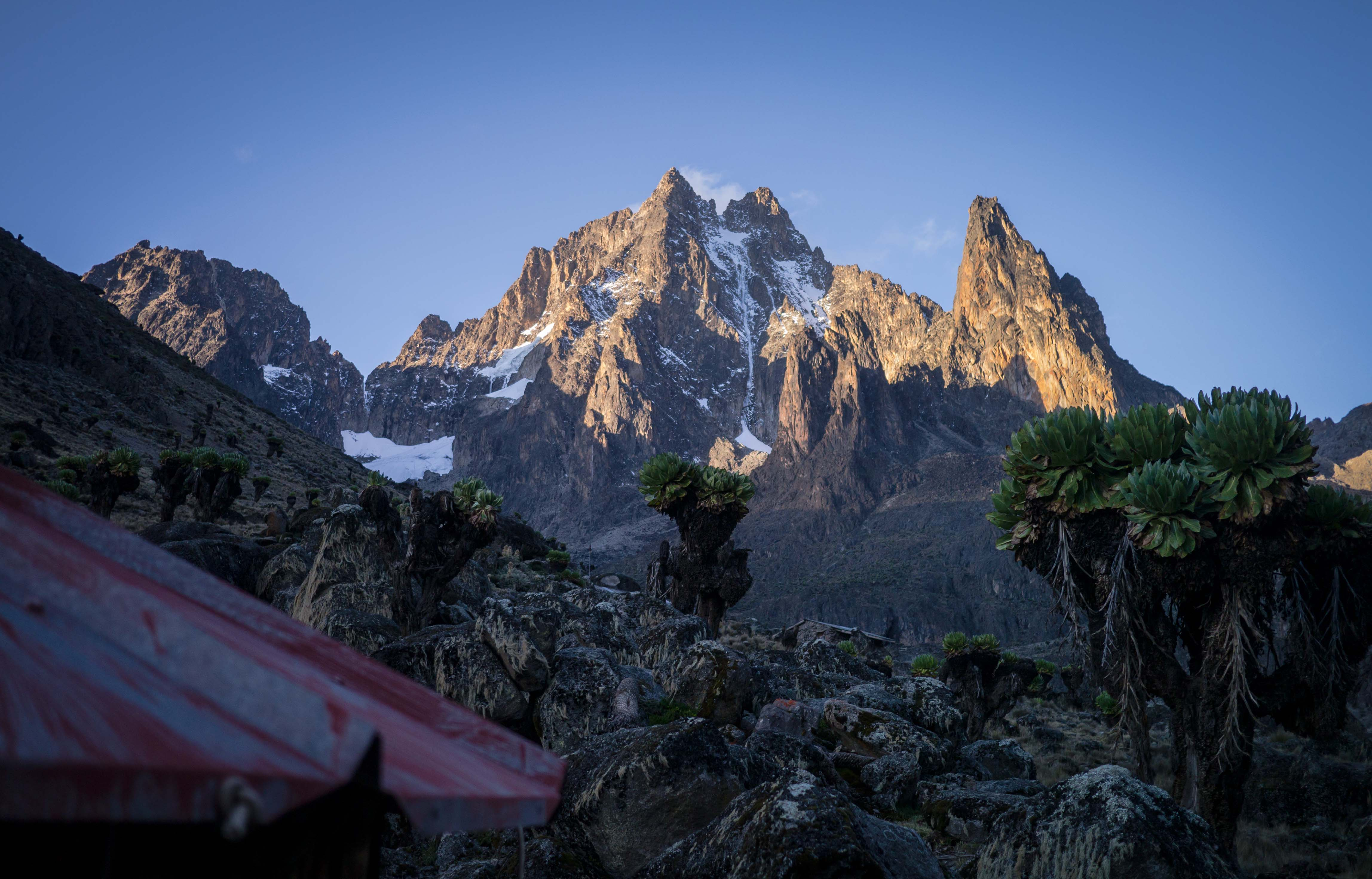 mt kenya Mount kenya (5,199 m - 17,058 ft) is the second highest mountain in africa and the highest mountain in kenya, after which the country is namedit lies just south of the equator and currently has eleven small glaciers.